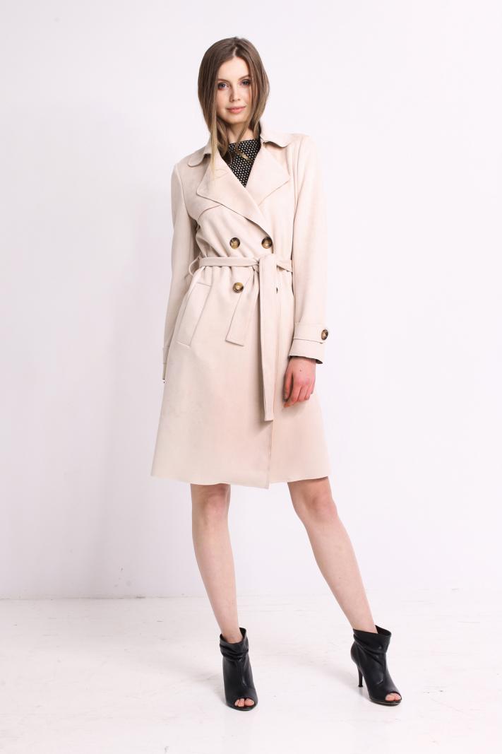 Płaszcz z eco zamszu
