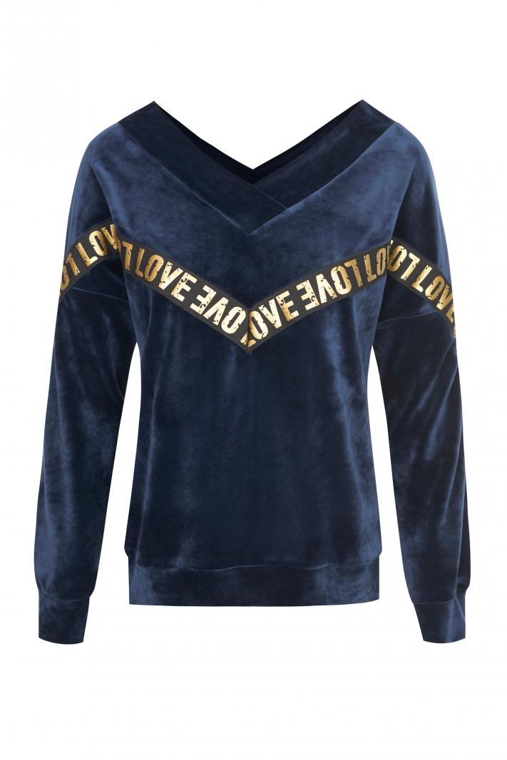 Welurowa bluza love w szpic