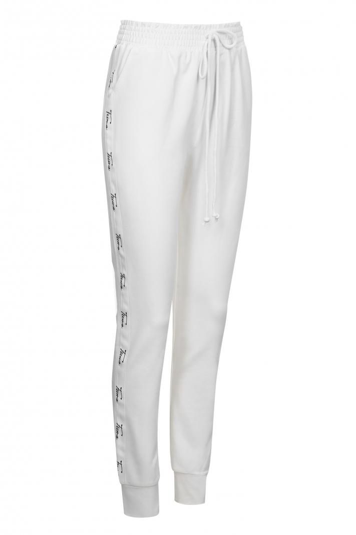 Bawełniane spodnie z białą logowaną taśmą Feema